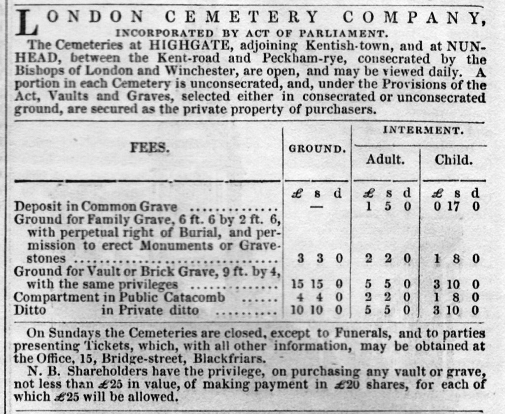 Highgate Cemetery charges 1842